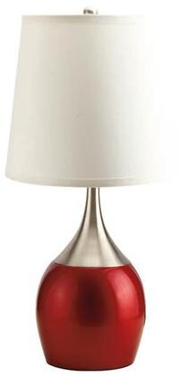 Willow Collection 40029 Set of 4 Touch Table Lamps with Brushed Silver and Red