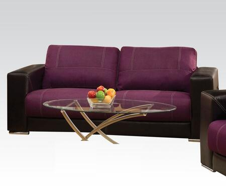 Brayden Collection 51680 84 inch  Sofa with Wood Frame  Tight Cushions  Baseball Stitching  Track Arms  Linen and Bycast PU Leather Upholstery in Purple and Black