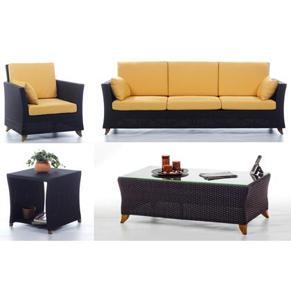 PR90-SET-Y 4-Piece Patio Set with Sofa  Arm Chair  Coffee Table and Side Table in