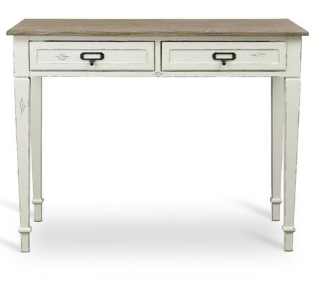 Baxton Studio CHR4VM/M B-CA Dauphine French Accent Writing Desk with 2 Drawers  White Streaking Mindi Wooden Top  Distressed MDF Frame and Black Metal Drawer