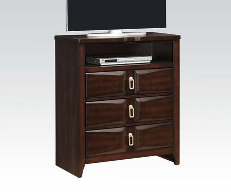 Lancaster Collection 24577 33 inch  TV Console with 3 Drawers  Metal Ring Pull Hardware  English Dovetail Drawers  Rubberwood and Tropical Wood Construction in