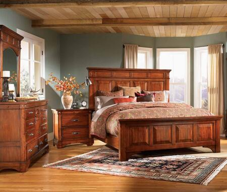 KALRM5030Q4P Kalispell 4-Piece Bedroom Set with Queen Sized Mantel Bed  Dresser  Mirror and Single