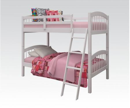 Manville Collection 37115WH Twin Over Twin Size Bunk Bed with Attached Ladder  Slat System Included and Brazil Taeda Pine Wood Construction in White