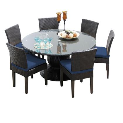 NAPA-60-KIT-6C-NAVY Napa 60 Inch Outdoor Patio Dining Table with 6 Armless Chairs with 2 Covers: Wheat and