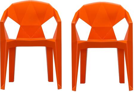 "V1716 Set of 2 32"" 3D Stacking Chair with Draining Hole  Angular Back Design  Tapered Legs  Indoor/Outdoor Use and Polypropylene Resin Material in Orange"