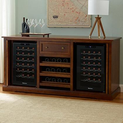 3359101 Siena Wine Credenza with Two 28 Bottle Touchscreen Wine Cooler  Three Wood Shelves  One Spacious Storage Area  and Deep Rolling Top Drawer  in