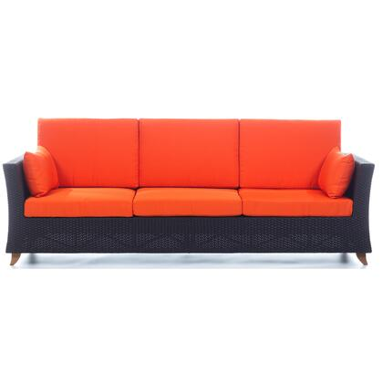 PR90-O 92 inch  Rattan Deep Seating Sofa with Solid Teak Legs  Heavy-Gauge Aluminum Frame and Water Resistant Polyester Fabric Cushion in