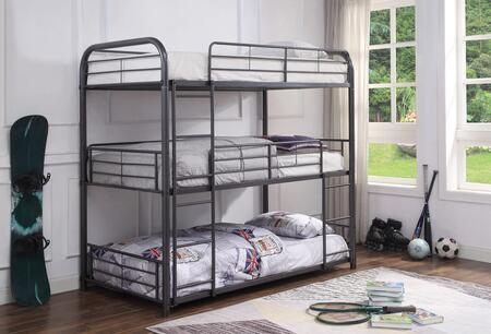 Cairo Collection 38095 Full Size Triple Bunk Bed with Slat System Included  Built-In 2 Front Ladders  Easy Access Guard-Rail and Metal Frame Construction in