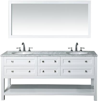 Marla HD-6868-72-CR 72 inch  Double Sink Bathroom Vanity with 68 inch  Mirror  6 Functional Soft-Closing Drawers  Bottom Shelf and Carrara White Marble Top in