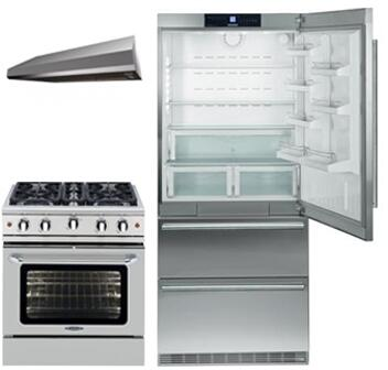 3-Piece Kitchen Package with CS2060 36 inch  Bottom Freezer Refrigerator  MCR304 30 inch  Freestanding Gas Range  and MAES3010SS600B 30 inch  Under Cabinet Convertible Hood