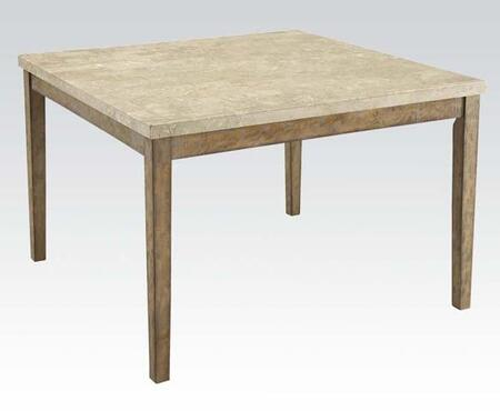 Claudia Collection 71720 54 inch  Counter Height Table with White Marble Top  Tapered Legs  Rubberwood and Veneer Materials in Salvage Brown