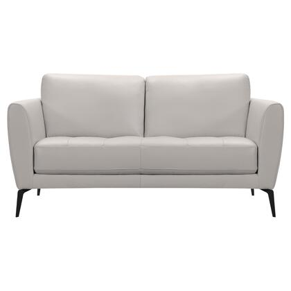 Hope Collection LCHP2GR Contemporary Loveseat in Genuine Dove Grey Leather with Black Metal