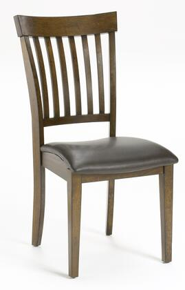 4232-802 Set of 2 Arbor Hill Dining Chairs with Brown Bonded Leather Waterfall Seat and Slat Back Design in Chestnut