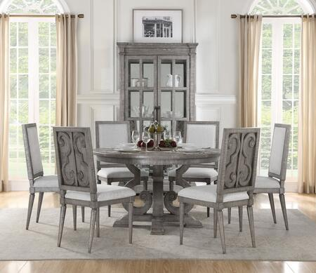 Artesia Collection 770858SET 8 PC Dining Room Set with Round Shaped Dining Table  Curio and 6 White Fabric Upholstered Side Chairs in Salvaged Natural