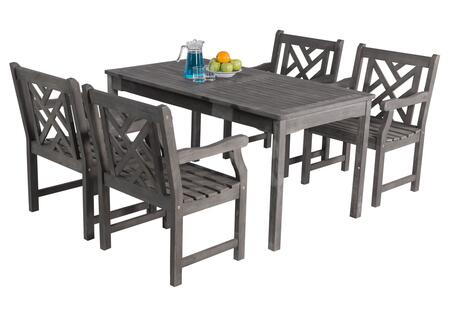 V1297SET8 Renaissance Outdoor Hand-scraped Hardwood Rectangular Table and 4 V1301 Renaissance Series Outdoor Hand-scraped Hardwood