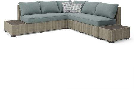 Silent Brook Collection P443-071 3-Piece Patio Set with Left Arm Facing Sofa  Loveseat with End Table and 1 Separated End Table in Beige and