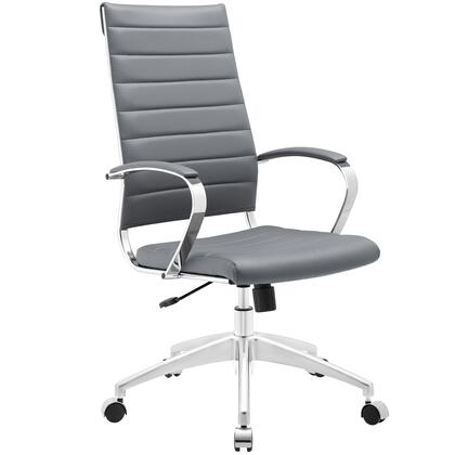 Jive Collection EEI-272-GRY Office Chair with 5-Caster Dual Wheel Base  Padded Arms  Chrome-Plated Aluminum Frame  Tilt Lock Tension Control  Adjustable Height