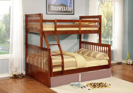 Rockwell Collection Twin Over Full Size Bunk Bed with Fixed Ladder  Slats Design  Solid Hardwood Construction and Wood Veneer Materials in Walnut