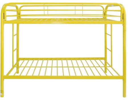 Thomas Collection 02188YL Twin Over Twin Size Bunk Bed with Built-In Side Ladders  Full Length Guard-Rail  Slat System Included and Metal Tube Frame in Yellow