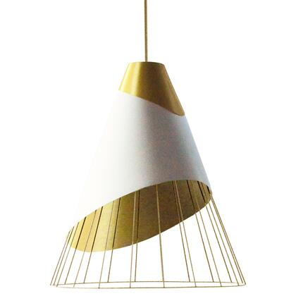 FAR-2428-692 1 Light Gold Pendant With Gold Fabric Cap And White On Gold Hardback