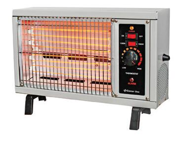 CZ550 ETL Listed Electric Radiant Heater with 5120 BTUs  Adjustable Thermostat  Power and Safety Alarm Indicator Lights  Stay Cool Metal Housing and Safety