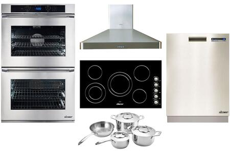 """Stainless Steel Kitchen Package with DTO230S 30"""" Double Wall Oven RNCT365B 36"""" Induction Cooktop DDW24S 24"""" Full Console Dishwasher DHW361 36"""" Wall Mount"""