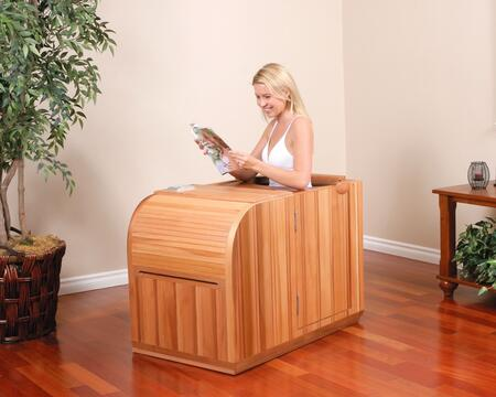 Essential HM-S-1 Infrared Sauna with Low EMF Trulnfra Heater  Low EMF Tecoloy M Heater  and Floor Heater in Cedar