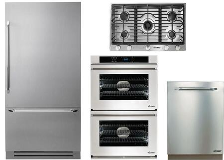 4-Piece Stainless Steel Kitchen Package with DYF36BFBSR 36 inch  Bottom Freezer Refrigerator  RNCT365GSNGH 36 inch  Natural Gas Cooktop  RNWO230FS 30 inch  Electric Double