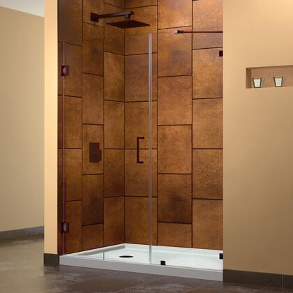 SHDR-23497210-06 Unidoor Lux 49 In. W X 72 In. H Fully Frameless Hinged Shower Door With Support Arm In Oil Rubbed