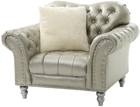 G704-c 48 Armchair With Nailheads  Painted Legs Match Nailheads  Turned Legs And Faux Leather Upholstery In Silver