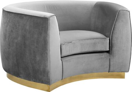 Julian 620Grey-C Chair with Velvet Upholstery  Gold Stainless Steel Base and Curved Back Design in