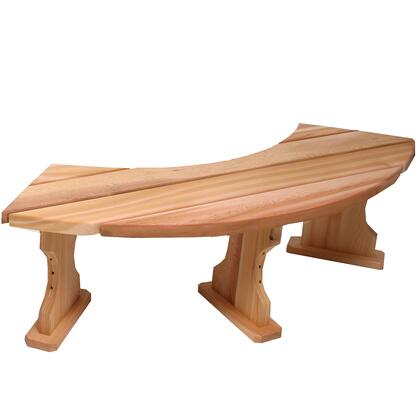 QR60 60 Quarter Round Backless Bench with Plank Style Top  Western Red Cedar Construction and Hand
