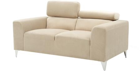 G334-l 61 Loveseat With Chrome Legs  Adjustable Headrest  Track Arms  Split Back Cushion And Soft Velvet Like Micro Suede Cover In Beige