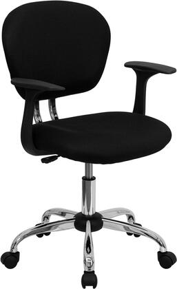 H-2376-F-BK-ARMS-GG Mid-Back Black Mesh Task Chair with Arms and Chrome