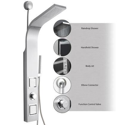 GV-9000 39 Stainless Steel Easy Connect Shower Panel Tower Rainfall