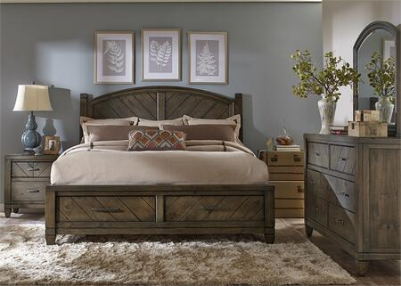 Modern Country Collection 833-BR-KSBDMN 4-Piece Bedroom Set with King Storage Bed  Dresser  Mirror and Night Stand in Harvest Brown