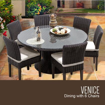 Venice-60-kit-6c-beige Venice 60 Inch Outdoor Patio Dining Table With 6 Armless Chairs With 2 Covers: Wheat And