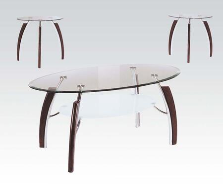 Martini Collection 08188 3 PC Living Room Table Set with 8mm Clear Glass Top  5mm Sandy Glass Shelf  Galvanized Iron Accents and China Wood Legs in Brown
