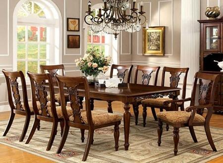 Seymour Collection CM3880T6SC2AC 9-Piece Dining Room Set with Rectangular Table  6 Side Chairs and 2 Arm Chairs in Dark