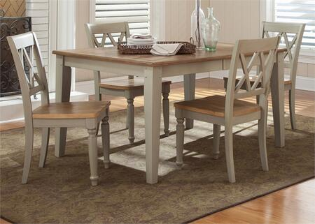 Al Fresco Collection 541-CD-O5RLS 5-Piece Dining Room Set with Rectangular Dining Table and 4 Double X Back Side Chairs in Driftwood & Taupe