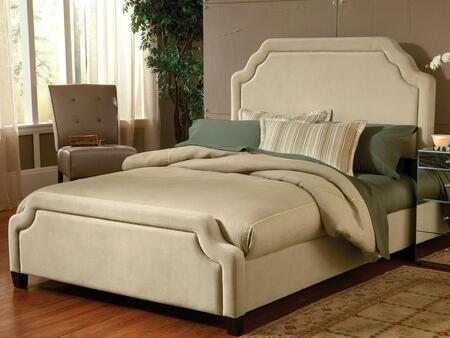 Carlyle 1566BQRC Queen Sized Bed with Headboard  Footboard and Rails  Nail Head Trim and Fabric Upholstery in Buckwheat