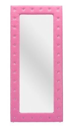 Baxton Studio BBTM27-Pink-Mirror Stella Modern Floor Mirror with Faux Crystal Tufted  Polyurethane Foam Padding  Rubberwood Frame and Faux Leather