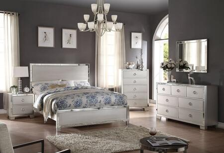 Voeville II Collection 24840QSET 5 PC Bedroom Set with Queen Size Bed + Dresser + Mirror + Chest + Nightstand in Platinum