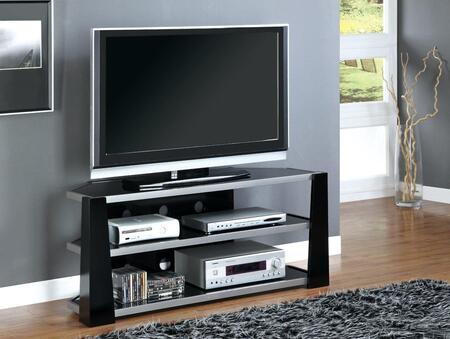 "I 2010 TV Stand - 48""""L / Glossy Black / Silver Metal /"" 501877"