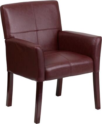 BT-353-BURG-GG Burgundy Leather Executive Side Chair or Reception Chair with Mahogany