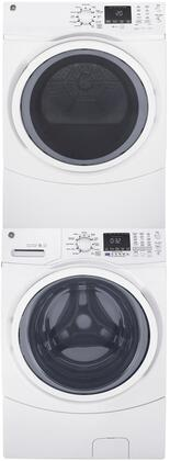 White Front Load Laundry Pair with GFW450SSMWW 27 Washer  GFD45GSSMWW 27 Gas Dryer and GEFLSTACK Stacking
