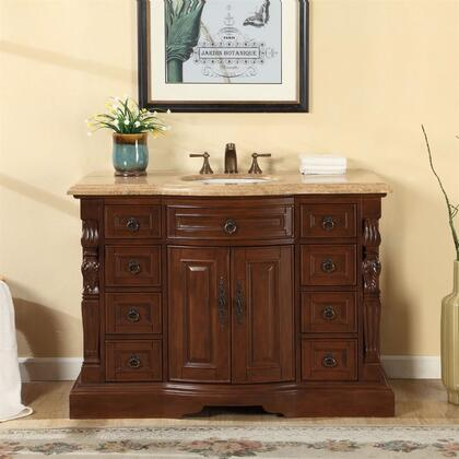 V0283TW48C 48 inch  Single Sink Cabinet with 9 Drawers  2 Doors  Travertine Top and Undermount White Ceramic Sink