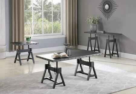 708208-S3 3-Piece Living Room Table Set with Coffee Table  End Table and Sofa Table in Gunmetal