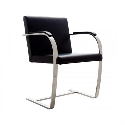 Mumlen FEC9303BLK Arm Chair with Stainless Steel Base  Padded Arms and Leather Upholstery in