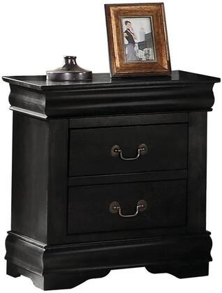 Louis Philippe Collection 23733 21 inch  Nightstand with 2 Drawers  Brushed Nickel Hardware  Center Metal Drawer Glides  Pine Wood and Gum Veneer Materials in Black